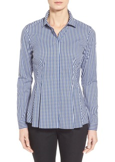 Lafayette 148 New York 'East Hampton' Check Pleat Front Blouse