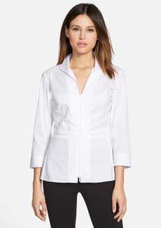 Lafayette 148 New York 'Elaine' Pleat Front Stretch Poplin Shirt