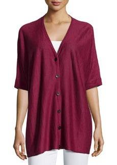 Lafayette 148 New York Elbow-Sleeve Oversized Cardigan, Pomegranate