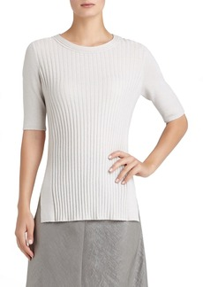 Lafayette 148 New York Elbow Sleeve Ribbed Cashmere Sweater