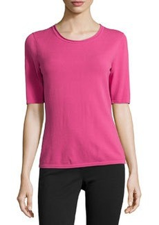 Lafayette 148 New York Elbow-Sleeve Scoop-Neck Top, Rubellite