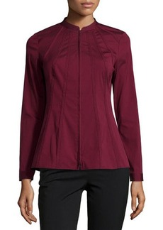 Lafayette 148 New York Elda Piped Zip-Front Blouse