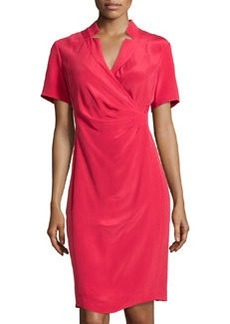 Lafayette 148 New York Eleonora Collared Silk Dress, Lipstick