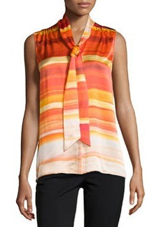 Lafayette 148 New York Elisabetta Tie-Front Sleeveless Blouse, Begonia/Multi
