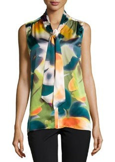 Lafayette 148 New York Elisabetta Tie-Front Sleeveless Blouse, Kale/Multi