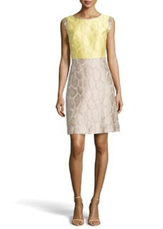 Lafayette 148 New York Elle Colorblock Animal Jacquard Dress, Lemondrop/Khaki