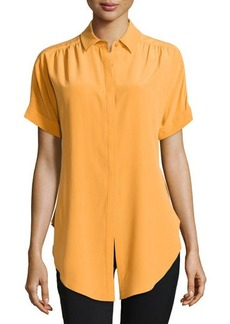 Lafayette 148 New York Elodie Tie-Front Short-Sleeve Blouse