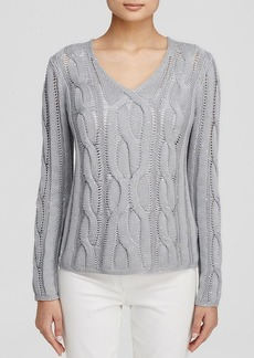 Lafayette 148 New York Embellished Cable Knit Sweater