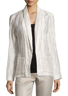 Lafayette 148 New York Ember Crinkled Open-Front Jacket, Raffia/Multi