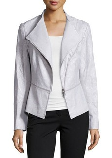 Lafayette 148 New York Embossed-Leather Moto Jacket, Zinc