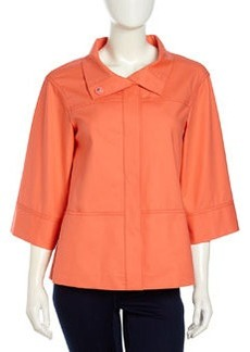 Lafayette 148 New York Emiline 3/4 Boxy Stretch-Knit Jacket, Sunset