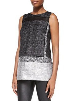 Lafayette 148 New York Erica Sleeveless Mixed Media Blouse