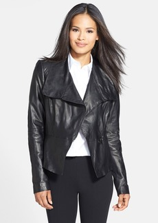 Lafayette 148 New York 'Estelle' Glazed Lambskin Leather Jacket