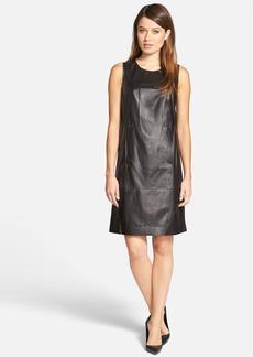 Lafayette 148 New York 'Ester' Sleeveless Leather Shift Dress
