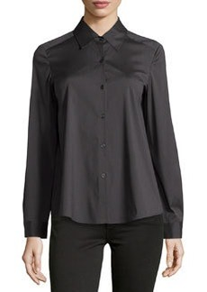 Lafayette 148 New York Excursion Relaxed Poplin Blouse, Hunter