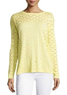 Lafayette 148 New York Eyelet Long-Sleeve Sweater