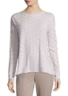 Lafayette 148 New York Eyelet-Stitch Cashmere Sweater