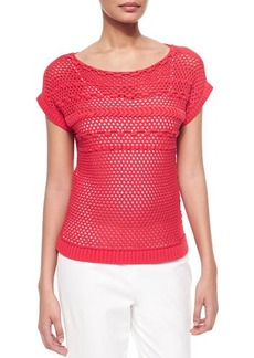 Lafayette 148 New York Eyelet Stitch Short-Sleeve Sweater  Eyelet Stitch Short-Sleeve Sweater