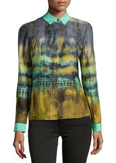 Lafayette 148 New York Fade-Print Charmeuse Blouse, Spearmint
