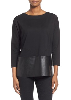 Lafayette 148 New York Faux Leather & Lightweight Punto Milano Top