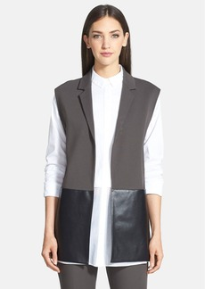 Lafayette 148 New York Faux Leather & Punto Milano Vest