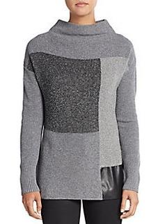 Lafayette 148 New York Faux Leather Panel Colorblock Funnelneck Sweater