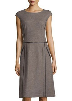 Lafayette 148 New York Faux-Leather Piped Cap-Sleeve Dress, Fawn Melange