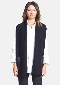 Lafayette 148 New York Faux Leather Pocket Wool Vest