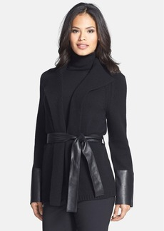 Lafayette 148 New York Faux Leather Trim Belted Cashmere Cardigan