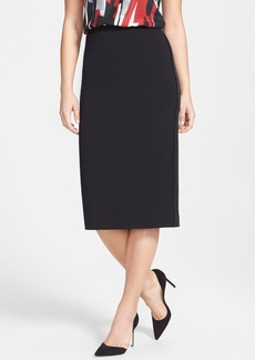 Lafayette 148 New York Faux Leather Trim Punto Milano Long Pencil Skirt