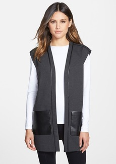 Lafayette 148 New York Faux Leather Trim Punto Milano Open Vest