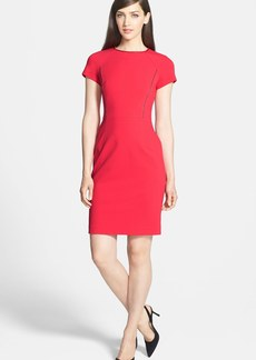 Lafayette 148 New York Faux Leather Trim Punto Milano Sheath Dress
