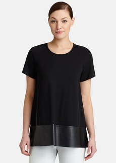 Lafayette 148 New York Faux Leather Trim Swing Top