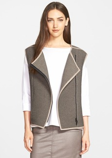 Lafayette 148 New York Faux Leather Trim Zip Front Vest