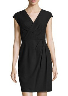Lafayette 148 New York Faux-Wrap V-Neck Dress, Black