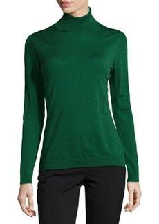 Lafayette 148 New York Fine-Gauge Wool Turtleneck Sweater, Emerald
