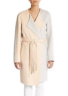 Lafayette 148 New York Fiona Two-Tone Wool & Cashmere Wrap Coat