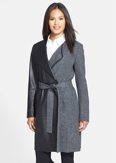 Lafayette 148 New York 'Fiona' Wool & Leather Wrap Coat