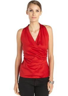 Lafayette 148 New York flame red cotton woven side shirred halter neck top