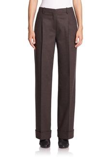Lafayette 148 New York Flannel Pleated Straight-Leg Pants