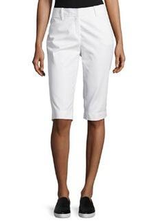 Lafayette 148 New York Flat-Front Bermuda Shorts, White