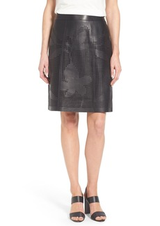 Lafayette 148 New York Floral Grid Leather Skirt (Regular & Petite)