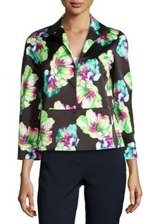 Lafayette 148 New York Floral-Print 3/4-Sleeve Jacket, Black Multi