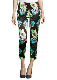 Lafayette 148 New York Floral-Print Ankle-Cropped Pants, Black Multi