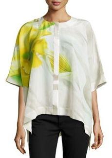 Lafayette 148 New York Floral-Print Silk Blouse, Lemonade