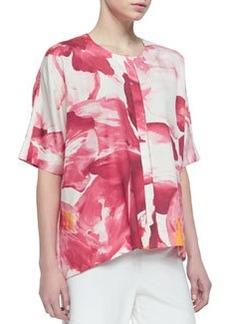 Lafayette 148 New York Floral-Print Silk Scoop-Neck Top