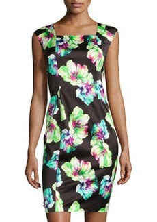 Lafayette 148 New York Floral-Print Square-Neck Dress, Black Multi