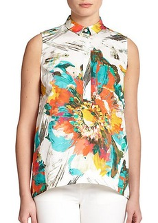 Lafayette 148 New York Floral Sleeveless Blouse