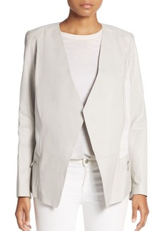 Lafayette 148 New York Florence Leather & Linen Jacket