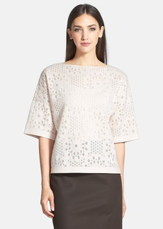 Lafayette 148 New York Florid Mesh Jersey Relaxed Elbow Sleeve Crop Top